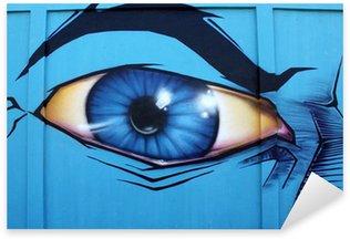 Naklejka Pixerstick Oeil, yeux, graffiti, tagi, ściana, Bleu