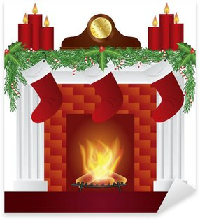 Naklejka Pixerstick Ognisko z Christmas dekoracji Vector Illustration