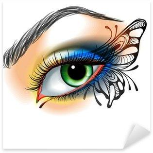 Naklejka Pixerstick Oko makijażu z motylem