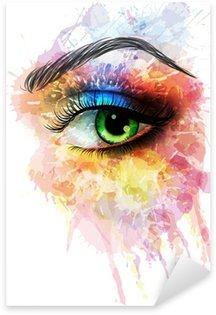 Naklejka Pixerstick Oko z kolorowymi plamami