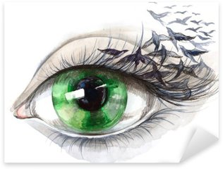 Naklejka Pixerstick Oko z ptakami (seria C)