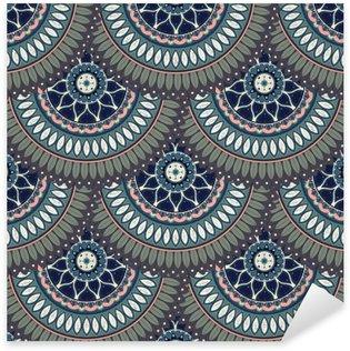 Naklejka Pixerstick Ozdobny kwiatowy bezszwowych tekstur, niekończące wzór z rocznika elementów mandali.