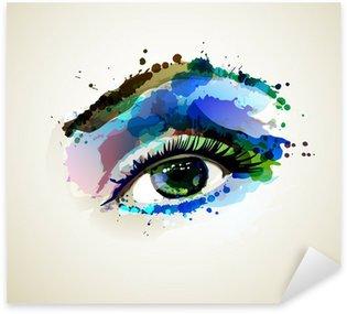 Naklejka Pixerstick Piękna kobieta oko mody tworząc przez plamami