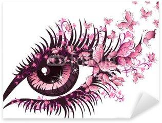 Naklejka Pixerstick Piękna kobieta oko z motyli