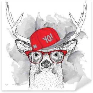 Naklejka Portret jelenia z okulary, słuchawki i hip-hop w kapeluszu. ilustracji wektorowych.