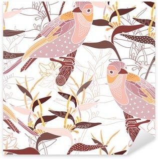 Naklejka Pixerstick Powtarzalny kwiatowy wzór z ptakami