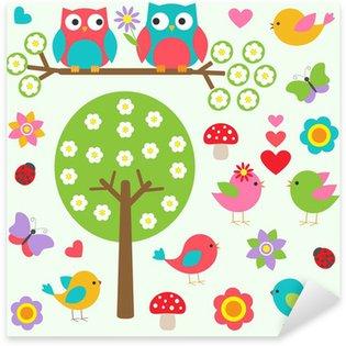 Naklejka Pixerstick Ptaki i sowy w lesie wiosny. Wektor zestaw