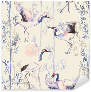 Naklejka Pixerstick Ręcznie rysowane Akwarele szwu z białych japońskich żurawi tańca. Powtarzające się tło z delikatnymi ptaków i bambusa