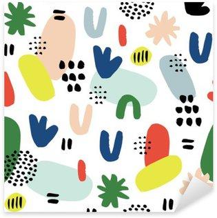 Naklejka Pixerstick Ręcznie rysowane bez szwu deseń w nowoczesnym stylu. Projektowanie dla plakatu, kartki, zaproszenia, afisz, broszury, ulotki, włókienniczym.