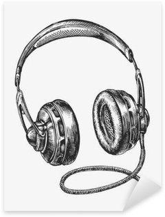 Naklejka Ręcznie rysowane rocznika słuchawek. Szkic muzyki. ilustracji wektorowych