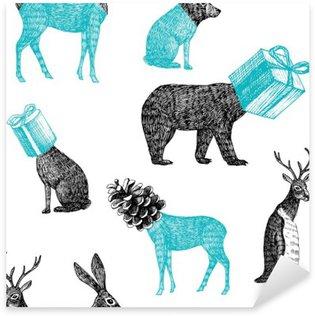 Naklejka Pixerstick Ręcznie rysowane zwierzęta zima bez szwu tła