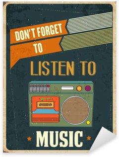 """Naklejka Pixerstick Retro metalu znak """"słuchać muzyki"""""""