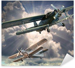 Naklejka Pixerstick Retro styl obraz z biplanes. Temat transportu.