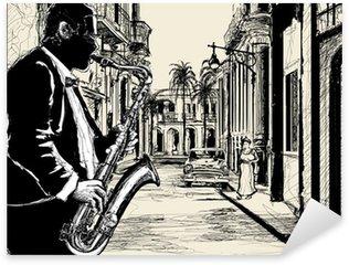 Naklejka Saksofonista na ulicy Kuby