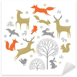 Naklejka Pixerstick Set of winter woodland elements for Christmas design