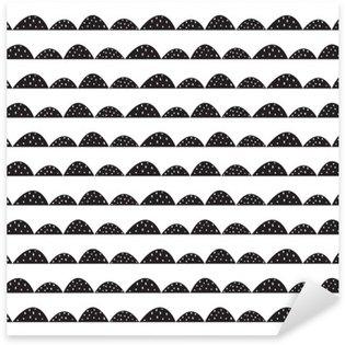 Naklejka Pixerstick Skandynawski bez szwu czarno-biały wzór w parze narysowanych stylu. Stylizowane rzędy Hill. Fala prosty wzór do tkanin, tkanin i bielizny niemowlęcej.