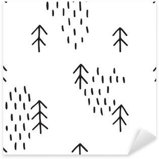 Naklejka Pixerstick Skandynawski wzór z drzew. Jednolite wzory zimowe, ręcznie rysowane w czarnym tuszem. Idealna do pakowania prezentów lub drukowania na tkaninie. Jednolite minimalne Narodzenie wzór.