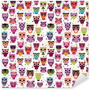 Naklejka Pixerstick Sowa wzór powtarzalne colourfull dla dzieci w wektorze