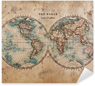 Naklejka Pixerstick Stara mapa świata na półkuli