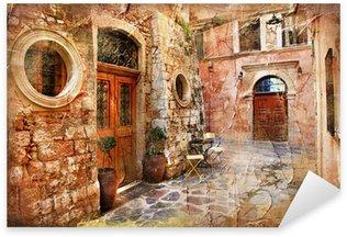 Naklejka Stare uliczki Grecji - artystyczny retro piture