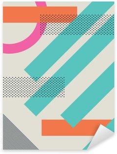 Naklejka Streszczenie 80s retro tło z geometrycznych kształtów i wzoru. Materiał wzór tapety.
