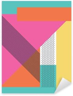 Naklejka Pixerstick Streszczenie 80s retro tło z geometrycznych kształtów i wzoru. Materiał wzór tapety.