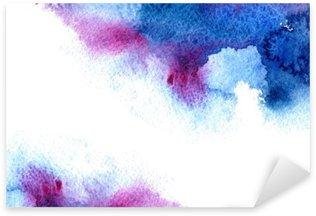 Naklejka Pixerstick Streszczenie niebieski i fioletowy wodniste frame.Aquatic backdrop.Hand rysowane Akwarele stain.Cerulean powitalny.
