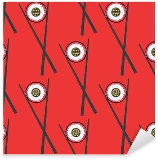 Naklejka Pixerstick Sushi i pałeczki wektor szwu