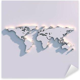 Naklejka Pixerstick Światowa mapa rzeźby na ścianie