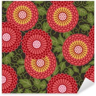 Naklejka Pixerstick Tradycyjne kwiaty bez szwu wzór