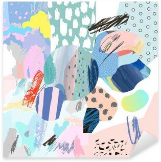 Naklejka Pixerstick Trendy twórczy kolaż z różnych tekstur i kształtów. Nowoczesna szata graficzna. Niezwykłe dzieło. Wektor. Odosobniony