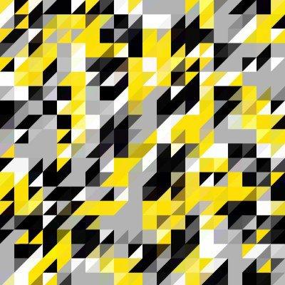 Pixerstick na Wszystko Trójkąt geometryczne kształty wzór. czarny i żółty