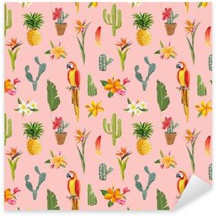 Naklejka Pixerstick Tukan Papuga. Tropikalne kwiaty tle. Retro Seamless Pattern