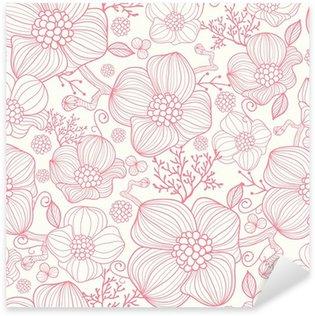 Naklejka Pixerstick Vector czerwone kwiaty line art elegancki bezszwowe tło wzór