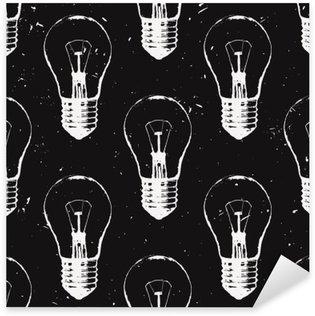 Naklejka Vector grunge szwu z żarówek. Nowoczesne hipster stylu szkic. Idea i koncepcja twórcze myślenie.