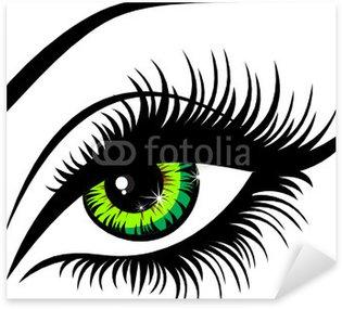 Naklejka Pixerstick Vector ilustracja piękna kobieta zielone oko