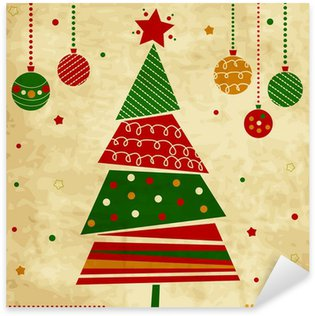 Naklejka Pixerstick Vintage Christmas karty z drzewa i ozdoby, karta xmas