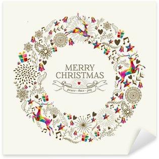 Naklejka Pixerstick Vintage Christmas karty z pozdrowieniami wieniec