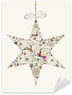 Naklejka Pixerstick Vintage Christmas star cacko pozdrowienia karty