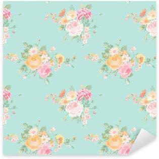 Naklejka Pixerstick Vintage Flowers Background - Seamless Floral Shabby Chic Wzór