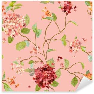 Naklejka Pixerstick Vintage Kwiaty - Floral Hortensja Tło - bez szwu