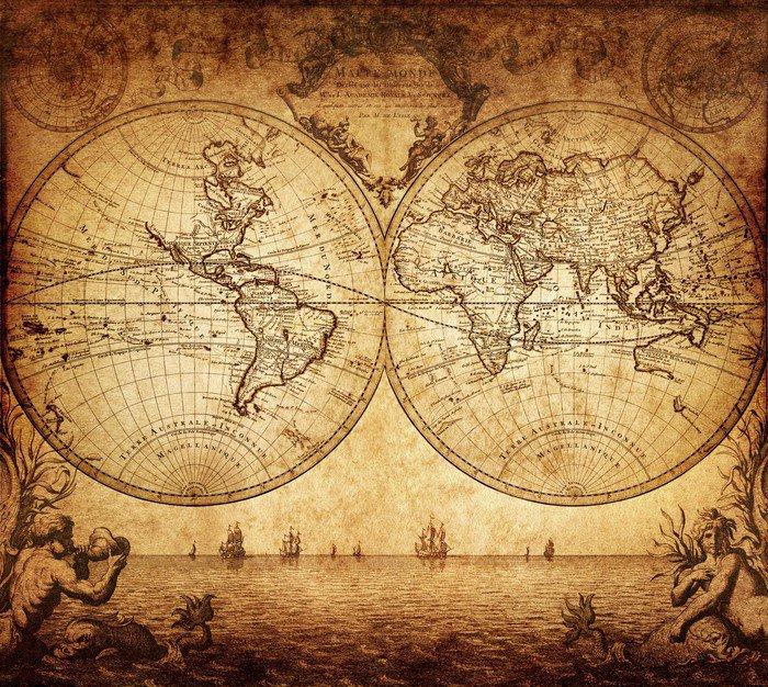 Naklejka Vintage, mapa świata 1733 - Tematy
