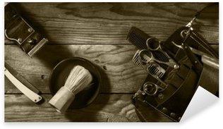 Naklejka Pixerstick Vintage zestaw Barbershop.Toning sepii