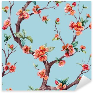 Naklejka Pixerstick Watercolor raster sakura pattern