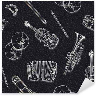 Naklejka Wektor bez szwu deseń z instrumentami muzycznymi