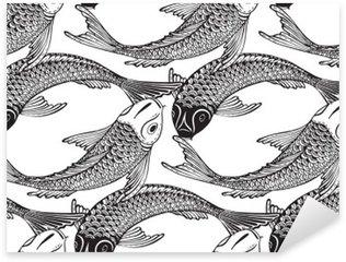 Naklejka Pixerstick Wektor bez szwu wzór z ręcznie rysowane Koi ryb