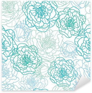 Naklejka Pixerstick Wektor niebieskie kwiaty line art elegancki bezszwowe tło wzór