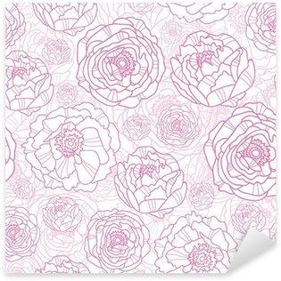 Naklejka Pixerstick Wektor różowe kwiaty line art elegancki bezszwowe tło wzór