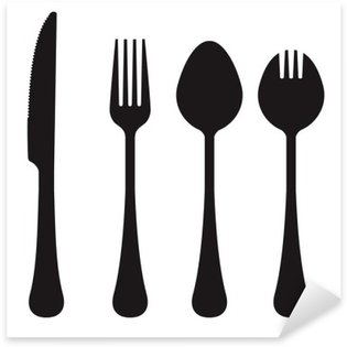 Naklejka Pixerstick Wektor sylweta nóż, widelec, łyżka i Spork