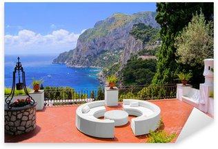 Naklejka Pixerstick Widok z luksusowym tarasie na wyspie Capri, Włochy